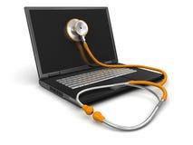 听诊器和膝上型计算机(包括的裁减路线) 库存照片