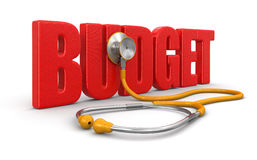 听诊器和预算(包括的裁减路线) 免版税库存照片