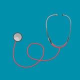 听诊器红色医生Tool Medical Vector 免版税库存照片