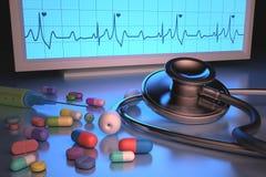 听诊器药物 库存图片