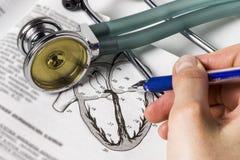 听诊心脏科医师的原则的研究 库存照片
