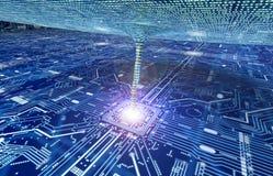 吮数据的漩涡从计算机circuitboard 免版税库存照片