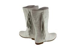 启动女性皮革对时髦的白色 免版税库存图片