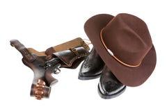 启动牛仔枪帽子 免版税库存照片