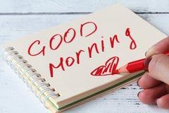 启发在好心情和晴朗的早晨之前的女作家 免版税库存照片
