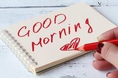 启发在好心情和晴朗的早晨之前的女作家 免版税库存图片