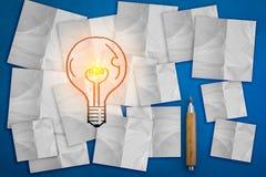 启发概念在白色稠粘的笔记本的电灯泡想法 jp 库存照片