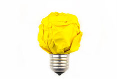 启发概念弄皱了纸电灯泡隐喻永远 免版税图库摄影