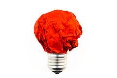 启发概念弄皱了纸电灯泡隐喻永远 库存图片