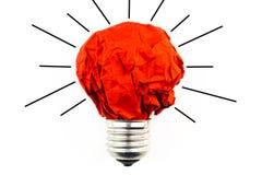 启发概念弄皱了纸电灯泡隐喻永远 免版税库存照片