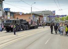 启远地胜利的第70周年的军事游行 免版税图库摄影