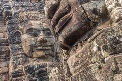 吴哥城寺庙的面孔,在暹粒柬埔寨 免版税库存照片