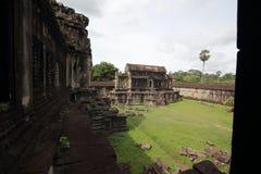 吴哥窟寺庙,暹粒,柬埔寨庭院  库存照片