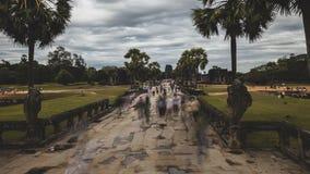 吴哥窟柬埔寨 长的游人的曝光电影定期流逝运动 影视素材