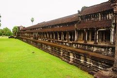 吴哥窟,暹粒,柬埔寨外面画廊  在世界162的最大的宗教纪念碑 6公顷 免版税库存照片