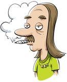 吸大麻叶的人 库存例证