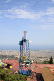吸引力在Tibidabo游乐园在夏天,巴塞罗那,卡塔龙尼亚,西班牙 免版税库存图片