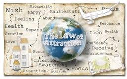 吸引力法律在纸的 免版税库存照片