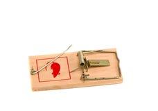 吸引抓住干酪杀害鼠标捕鼠器对陷井 图库摄影