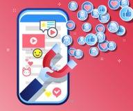 吸引追随者、顾客和客户的概念对事务 拿着在红色背景的手磁铁 皇族释放例证