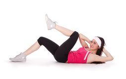 吸收健身培训妇女 免版税库存图片