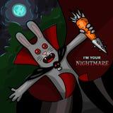 吸血鬼兔子用钢红萝卜-万圣夜字符 库存照片