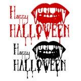 吸血鬼有血液的` s牙的剪影和题字 免版税图库摄影