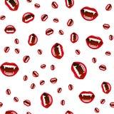 吸血鬼嘴唇的无缝的样式在白色背景的 也corel凹道例证向量 免版税图库摄影