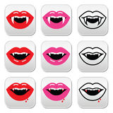 吸血鬼嘴,吸血鬼被设置的牙按钮 库存图片