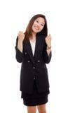 吹企业愉快的显示的妇女 免版税库存照片