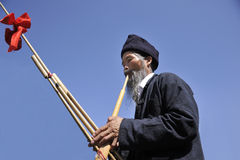 吹动Lusheng, hmong人 免版税库存照片