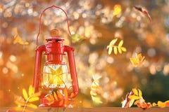 吹在灯笼附近的秋叶 图库摄影
