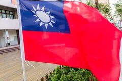 吹在风的台湾旗子 库存照片