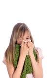 吹女孩她的鼻子病的年轻人 库存图片