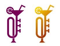 吹小号象鸡尾酒杯,爵士乐音乐会飞行物设计 库存例证