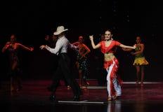吹捧牛仔这cha查家这奥地利的世界舞蹈 免版税库存照片