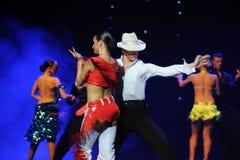吹捧牛仔这cha查家这奥地利的世界舞蹈 免版税库存图片