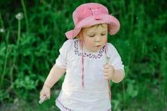 吹散蒲公英的小逗人喜爱的女孩 免版税图库摄影