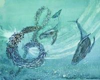 吹泡影的鲸鱼在创造音乐的鱼附近 库存照片