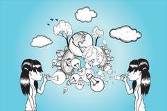 吹电灯泡和地球泡影的女孩 免版税图库摄影