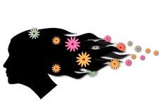 吹的五颜六色的花头发 库存图片