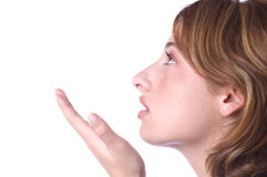 吹的亲吻妇女 免版税库存图片