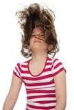 吹的女孩头发她的风 库存照片