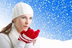 吹的女孩雪花冬天 免版税库存照片