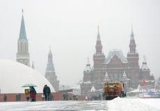 历史博物馆和红场在冬天 库存照片