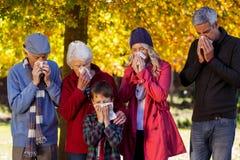 吹他们的鼻子的病的家庭在公园 库存照片