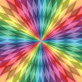 呈虹彩多角形线在中心相交 五颜六色的透明样式 彩虹几何抽象背景 库存图片