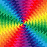 呈虹彩波浪线在中心相交 运动视觉幻觉  适用于纺织品,织品,包装和网 库存照片