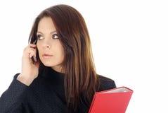告诉有吸引力的商业电话妇女 免版税库存照片