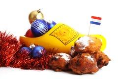 告诉的油炸圈饼荷兰语oliebollen 免版税库存照片